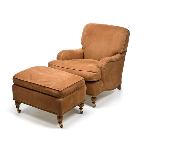 Scalamandre English armchair and ottoman upholstered in tan suede, modern
