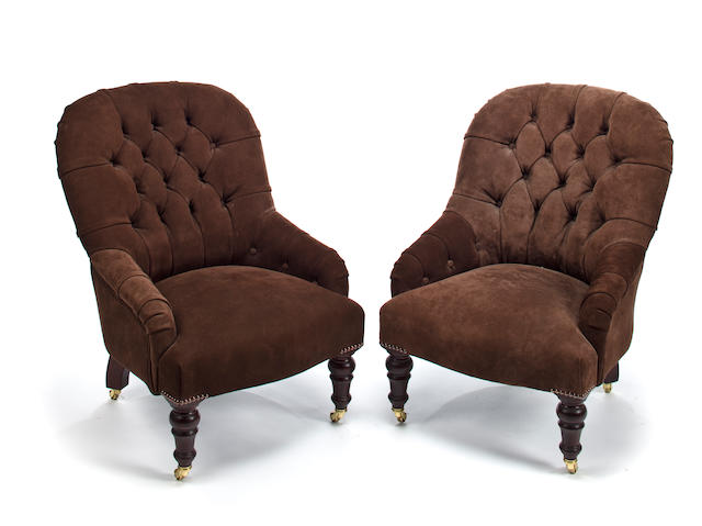 Pair of button-backed armchairs
