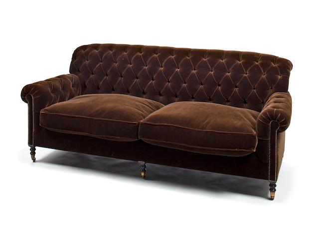 Brown velvet sofa