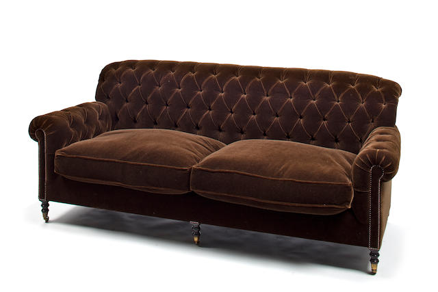 Brown velvet sofa