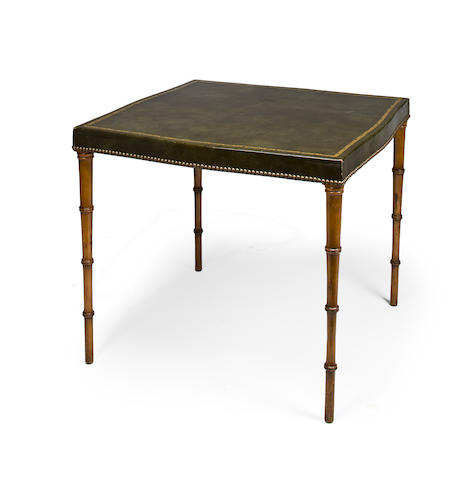A Continental faux bamboo games table with green leather top