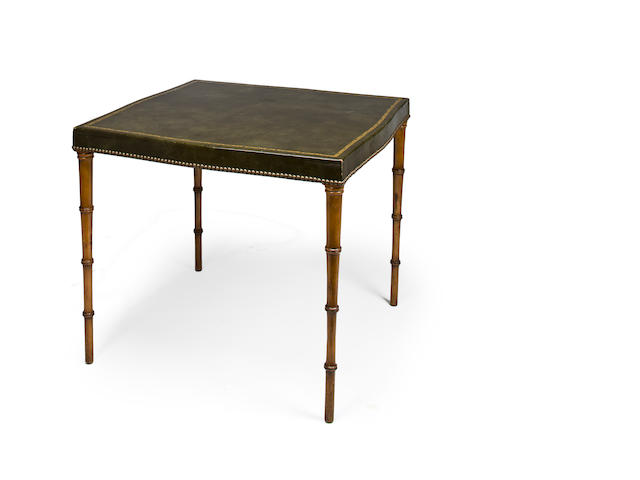 Faux bamboo and gilt-tooled leather games table, c. 1940