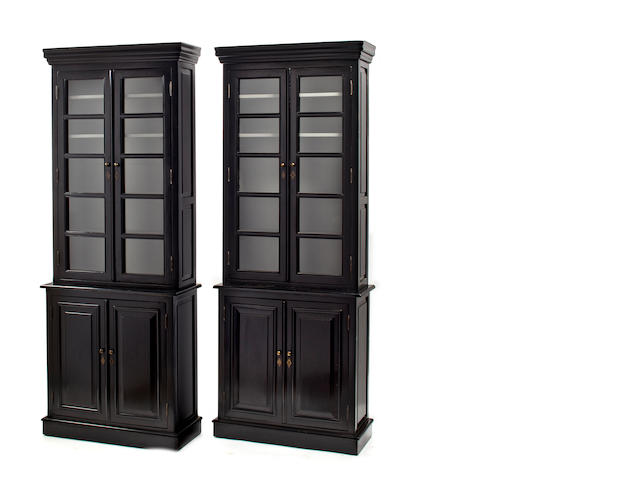 Pair of black painted bookcases, modern