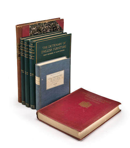 a group of books related to furniture and decorative arts