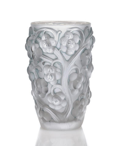 'Raisins' A Lalique clear, frosted and blue stained vase