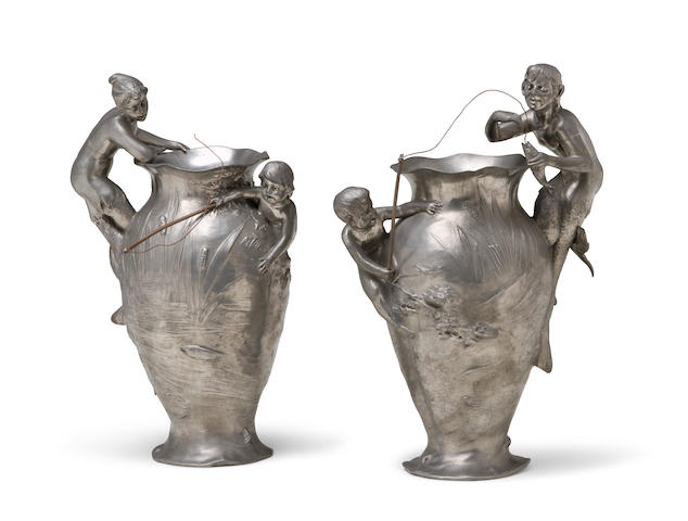 A pair of Württembergische Metallwarenfabrik (WMF) silver-plated metal figural vases circa 1900