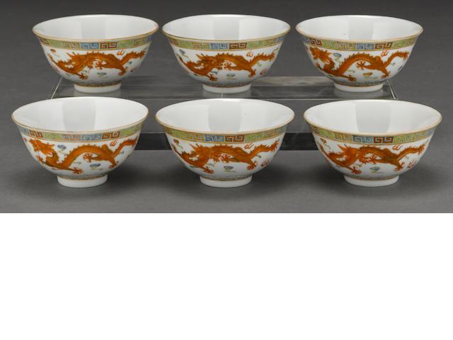 A set of six small polychrome enameled porcelain dragon bowls Guangxu marks