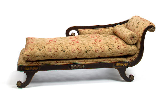 A Regency gilt bronze mounted faux rosewood chaise lounge