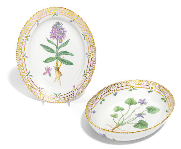 Two Royal Copenhagen porcelain Flora Danica oval dishes <BR />date codes for 1955 and 1957
