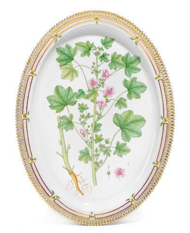 A Royal Copenhagen porcelain Flora Danica oval platter <BR />date code for 1963