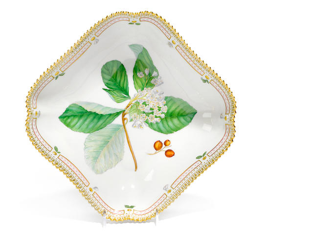 A Royal Copenhagen porcelain Flora Danica square form vegetable dish <BR />date code for 1961