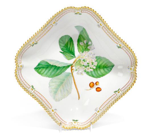 A Royal Copenhagen porcelain Flora Danica square form vegetable dish <BR />date code for 1961