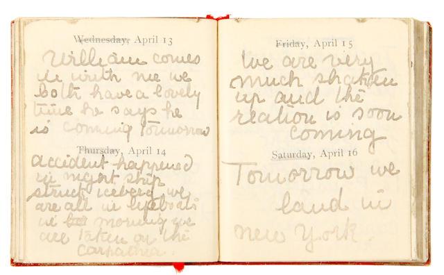TITANIC. CARTER, LUCILE P. Manuscript diary of a Titanic survivor,