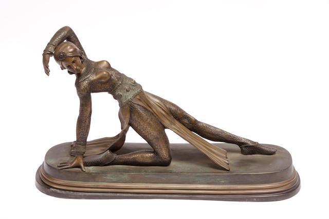 An Art Deco style bronze model of a dancer