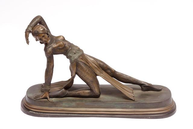An Art Deco style bronze model of a dancer