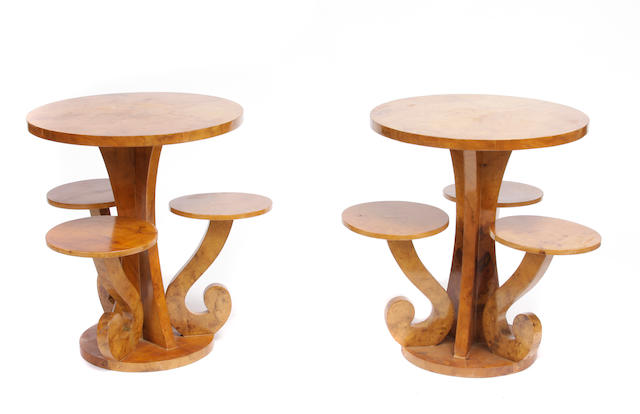 A pair of Art Deco style maple tiered tables