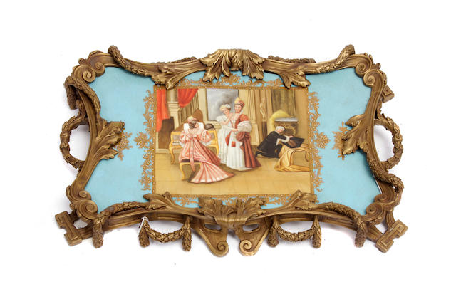 A Continental Neoclassical style porcelain and bronze serving tray