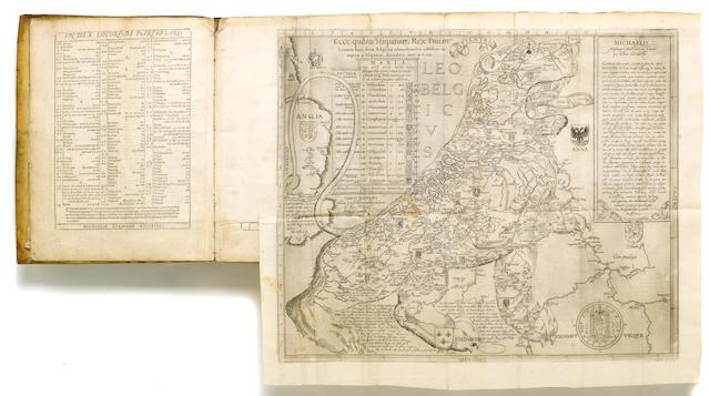 EYTZINGER, MICHAEL VON. c.1530-1598. Novus de Leone Belgico, eiusque Topographica atque, historica descriptione liber Cologne: Franciscus Hogenberg, 1588.