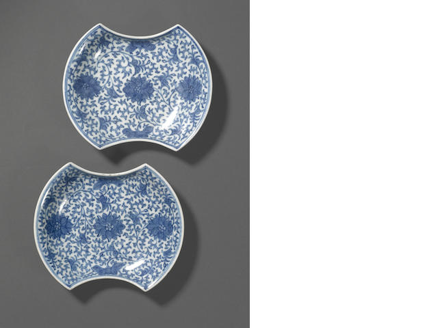 A pair of blue and white porcelain saucer dishes Jiaqing marks, Late Qing/Republic period