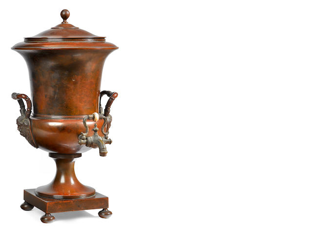 A French Empire style copper hot water urn <BR />early 19th century