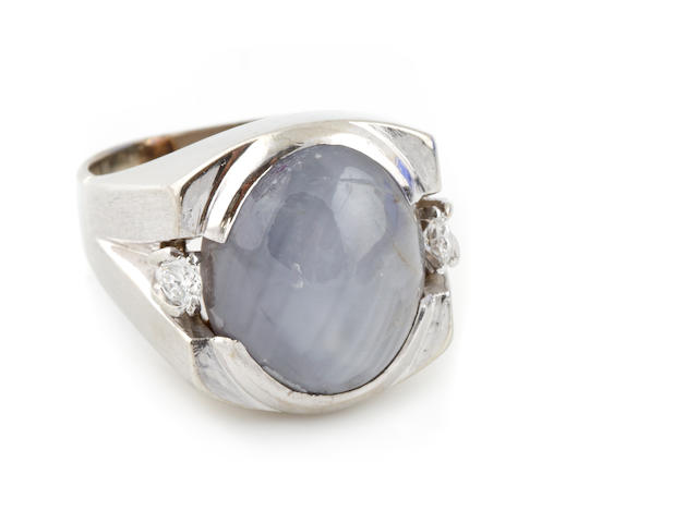 A star sapphire, diamond and white gold ring