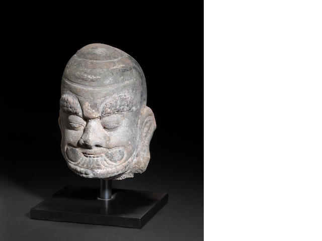 A carved stone head of a luohan Ming dynasty