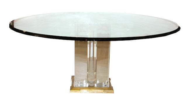 A Jeffrey Bigelow acrylic, brass and glass dining table