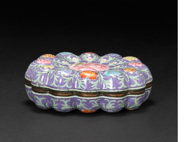 A Canton enamel floriform covered box Qianlong mark and period