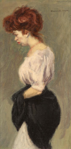 Raphael Soyer (American, 1899-1987) A standing woman in profile 18 1/4 x 9 1/4in