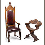 A Continental Neogothic carved oak cathedral armchair  with bordeaux leatherette upholstered seat and back, circa 1900 Together with: An Italian Renaissance style carved walnut folding Savanarola chair, fourth quarter 19th century