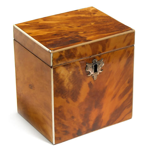 A George III tortoiseshell tea caddy fourth quarter 18th century