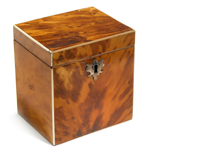 A George III tortoiseshell tea caddy <BR />fourth quarter 18th century