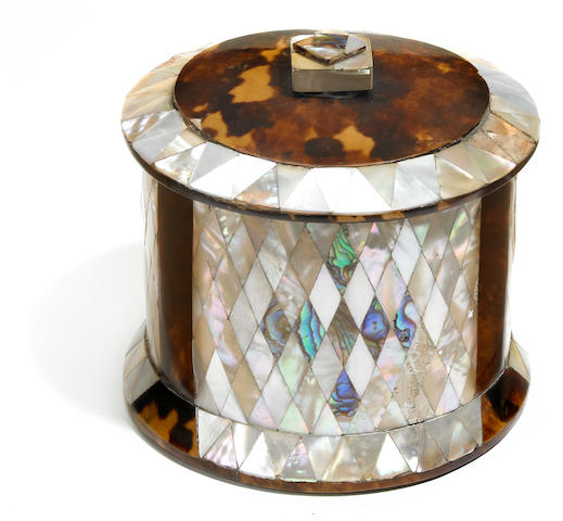 A Victorian tortoiseshell, abalone and mother of pearl inlaid tea caddy  <BR />mid 19th century