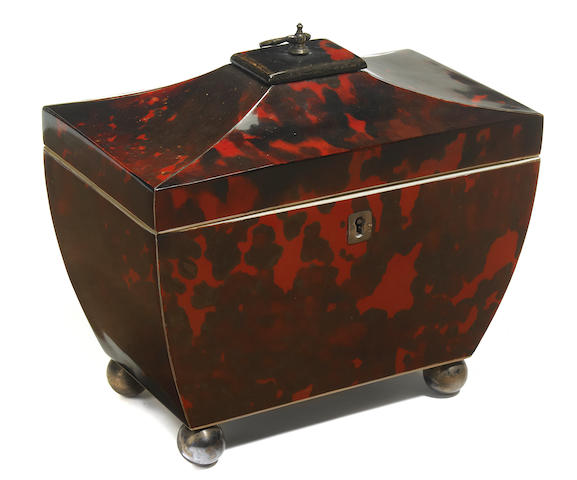 A Regency tortoiseshell and ivory tea caddy <BR />early 19th century
