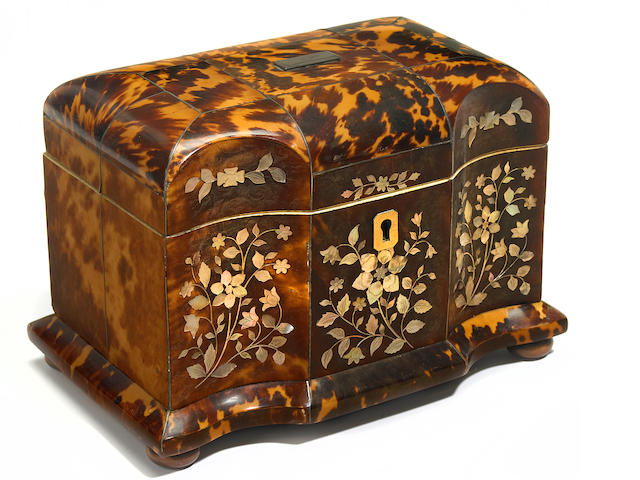 A late Regency mother of pearl inlaid tortoiseshell tea caddy <BR />early 19th century