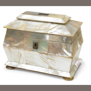 An early Victorian mother of pearl tea caddy . circa 1840