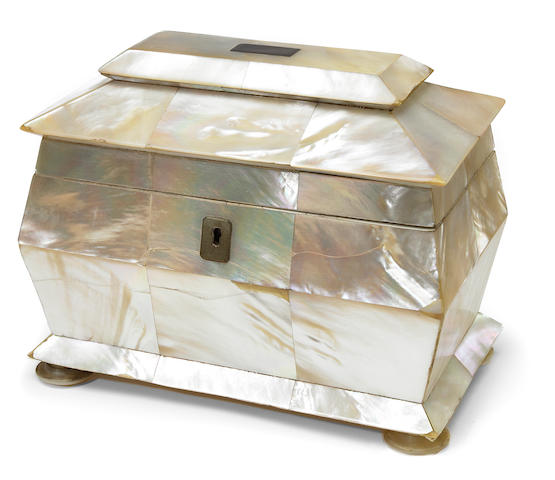 An early Victorian mother of pearl tea caddy <BR />circa 1840