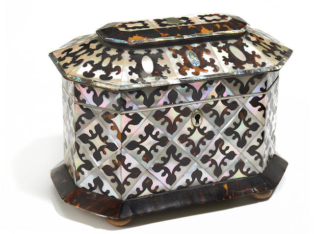 A Regency mother of pearl, abalone and tortoiseshell tea caddy