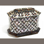 A Regency mother of pearl, abalone and tortoiseshell tea caddy <BR />early 19th century