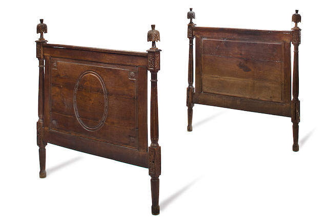A Louis XVI carved oak bed, fourth quarter 18th c.