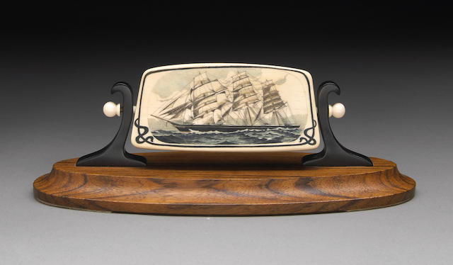 Scrimshaw Side View of a Clipper Ship on Fossil Mammoth Ivory