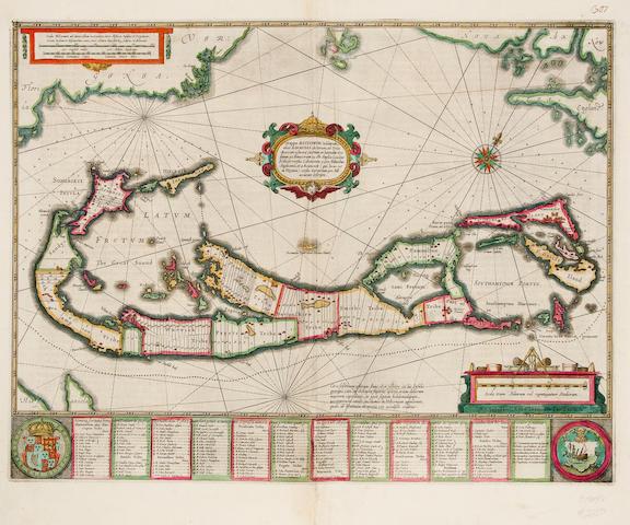 BERMUDA. JANSSON, JOHANNES. Mappa Æstivarum Insularum, alias Barmudas dictarum. Amsterdam: c.1650.