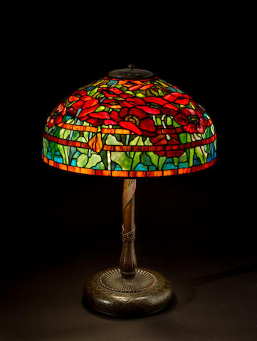 A Tiffany Studios Favrile glass and bronze Oriental Poppy table lamp 1899-1918