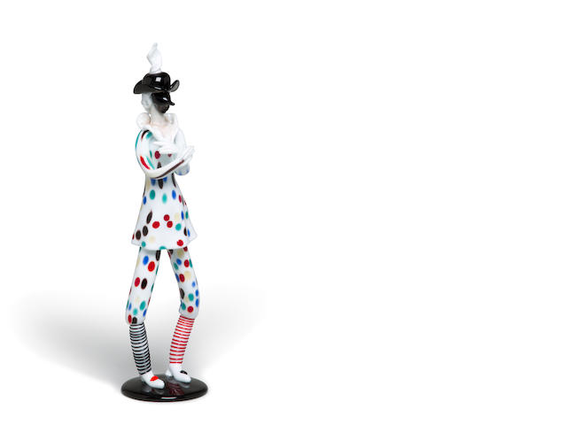 A Fulvio Bianconi for Venini glass Commedia dell'Arte figure: Arlecchino circa 1948