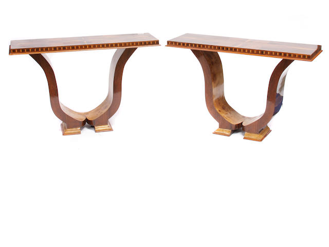 A pair of Art Deco style mixed wood console tables