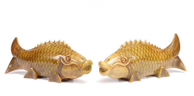 A pair of Chinese hardstone models of koi fish