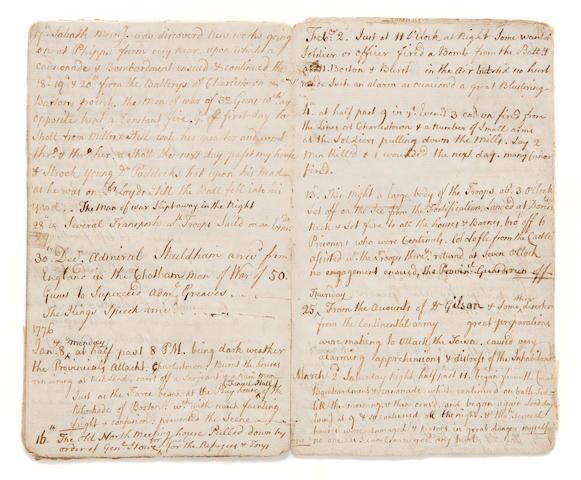 """REVOLUTIONARY WAR JOURNAL. """"OUR PEOPLE BEHAVED WITH THE UTMOST BRAVERY.""""  Manuscript Diary of Timothy Newell, 22 pp recto and verso, 8vo (158 x 95 mm), [Boston], dated April 19, 1775 to March 16, 1776, with frequent insertions and amendments. Nearly unstitched, first and last leaves a little edgeworn affecting a few letters, fol 4 with a closed tear, generally very good."""