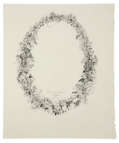 "MOSER, BARRY—SHAKESPEARE. ""Shakespearian Garland,"" pen and ink drawing"