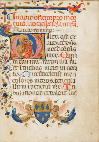 BREVIARY. Illuminated Latin manuscript on vellum, being prayers for the Office of the Dead. [Italy, late 15th century.]