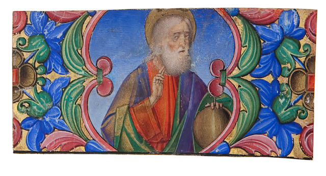 ILLUMINATED MINIATURE. Illuminated portrait of a halo-ed figure with left hand resting on a globe,